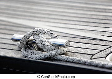 Tied up with a knot in a mooring rope