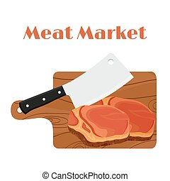 Cleaver, butcher's knife with steak, meat and cutting board.