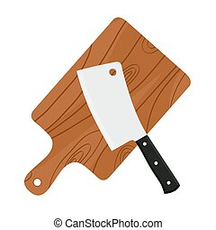 Cleaver, butcher's sharp knife for chopping meat with cutting board