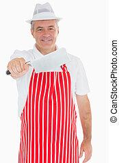 cleaver, uit, vlees, vasthouden, slager