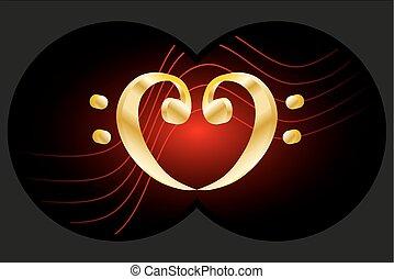 clef, basse, coeur, -, jumelles, vue