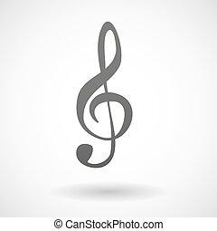 clef, cinzento, g, ícone