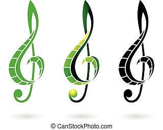 clef, coloridos, ilustração, sinal