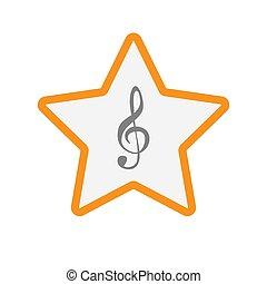 clef, estrela, isolado, g