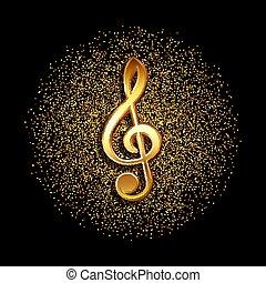 clef music symbol on gold glitter background 2008