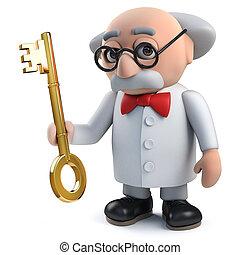 clef or, caractère, tenue, scientifique, fou, 3d