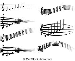 clef treble, estúdios, jogo, pessoal, desenho, som, notas, ilustração, distorção, aduela, vetorial, vário, logotipo, musical, ou