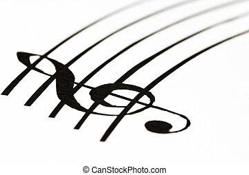 clef treble, música folha