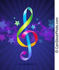 clef treble, multicolored