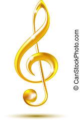 clef treble, ouro