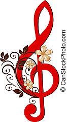clef treble, padrão, flor