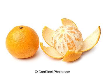 clementine, intero, e, sbucciato