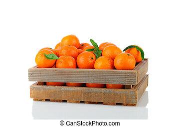 clementines, madera, cajón
