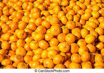 clementines, te koop, op, een, markt