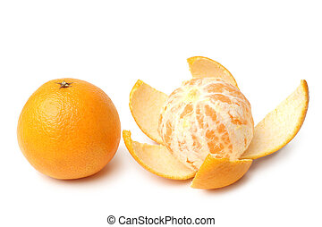 Clementines whole and peeled on white background