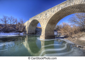 Clements Stone Arch Bridge, rural Kansas