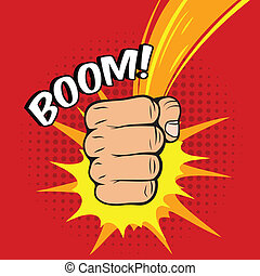 Clenched power fist boom pow abstract hit vector illustration