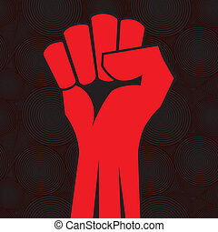 Red clenched fist hand vector. Victory, revolt concept. Revolution, solidarity, punch, strong, strike, change illustration.