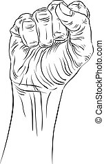 Clenched fist held high in protest hand sign, detailed black...