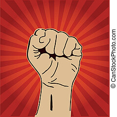 Clenched fist held high - A clenched fist held high in...