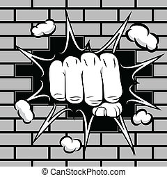 Clenched fist hit the wall emblem vector illustration