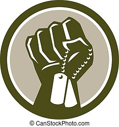 Clenched Fist Holding Dogtag Circle Retro