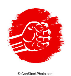 Clenched fist on red grungy brush background isolated