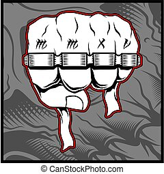 Clenched man fists with Thug life tattoo holding brass ...