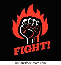 Clenched raised fist in fire on dark black background.