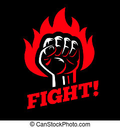 Clenched raised fist in fire on dark black background
