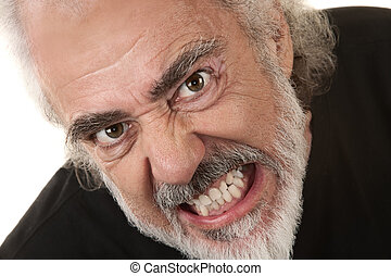 clenches, fâché, homme, dents
