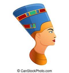 cleopatra, アイコン, スタイル, 頭, 漫画