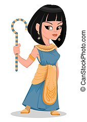 Cleopatra beautiful cartoon Egypt Queen in golden dress and...