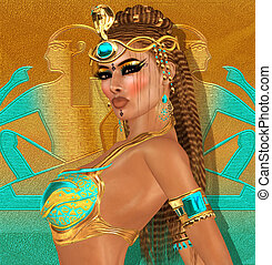 Fantasy ancient egyptian  A man in ancient egypt clothing standing