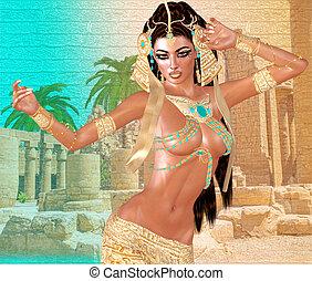 Cleopatra Egyptian Fantasy - Egyptian woman,beads,beauty and...