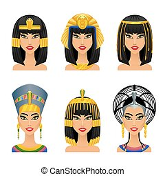 Cleopatra Egyptian Queen. Woman ancient, history and face,...