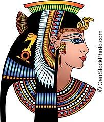 cleopatra, hoofd, detail