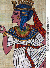 Cleopatra - Antique egyptian papyrus and hieroglyph
