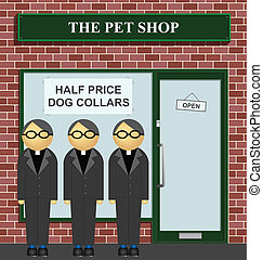 Clergy queuing for half price dog collars at the pet shop