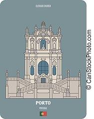 Clerigos Church in Porto, Portugal. Architectural symbols of European cities. Colorful vector
