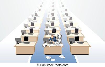 Clerk at empty office - Vector illustration of a clerk at ...