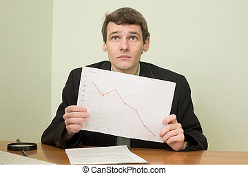 Clerk at office with financial graph