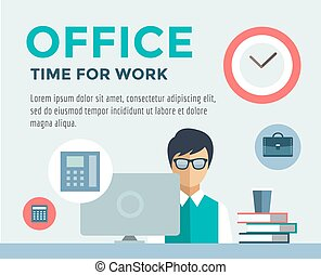 Clerk at Work infographic. Office, Table, Designer and...