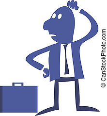 Clerk office worker standing, thoughtful, solves the problem