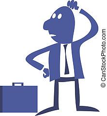 clerk - Clerk office worker standing, thoughtful, solves the...