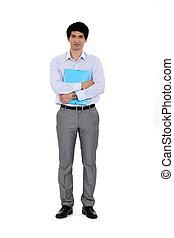 Clerk holding a folder