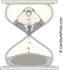 Clerk in a hourglass - Vector illustration of a functionary...