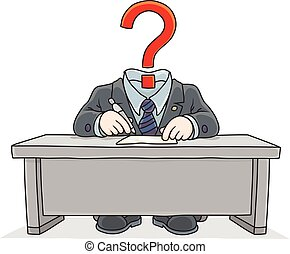 Clerk with a question mark instead of his head - Vector...