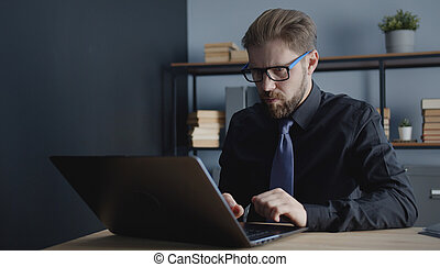 Clerk working laptop in office