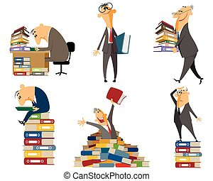 Clerk working with documents - Vector illustration of a...